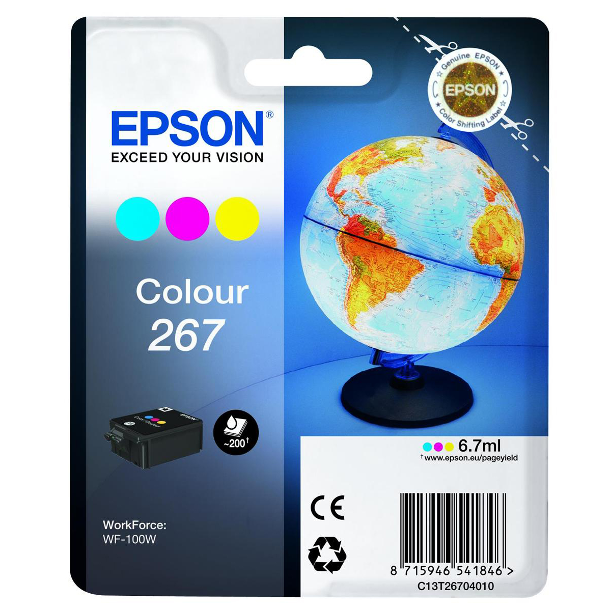 Epson T267 Inkjet Cartridge Globe Page Life 200pp 6.7ml Tri-Colour C13T26704010