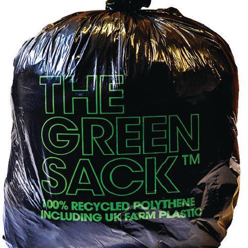 The Green Sack Refuse Sacks Medium Duty Under 10kg Capacity Black Ref 703001 [Pack 200]