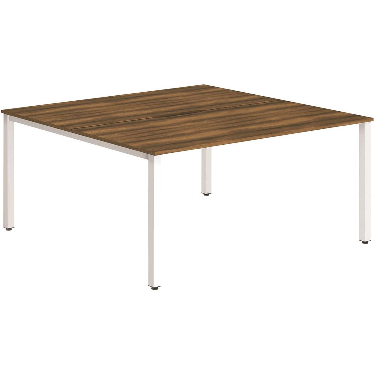 Trexus Bench Desk 2 Person Back to Back Configuration White Leg 1600x1600mm Walnut Ref BE149