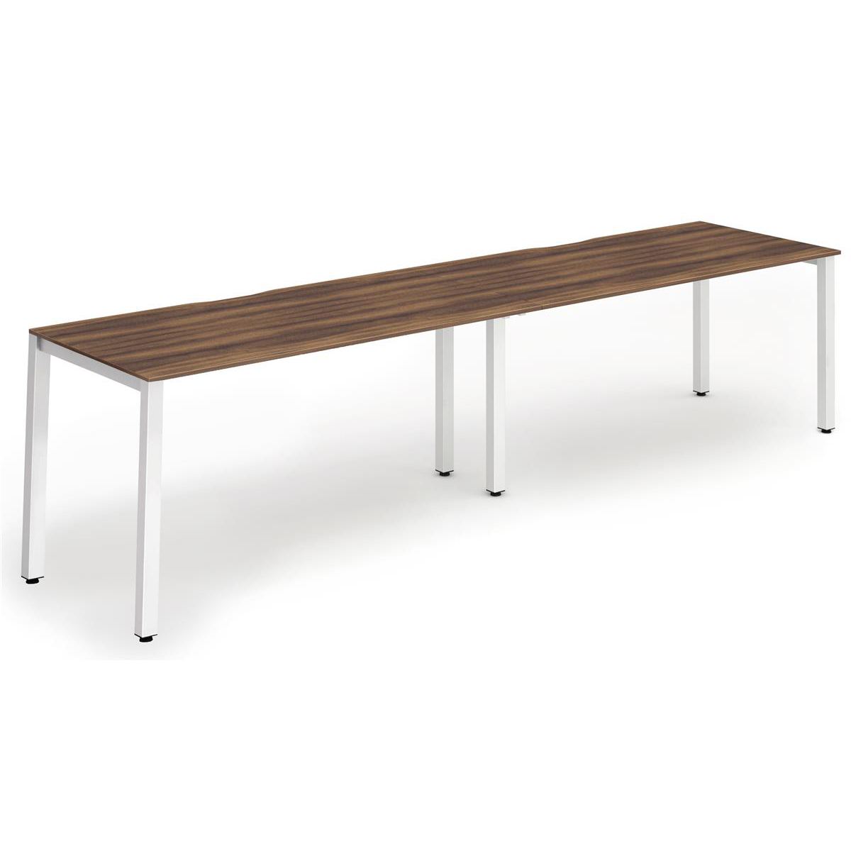 Trexus Bench Desk 2 Person Side to Side Configuration White Leg 2800x800mm Walnut Ref BE354
