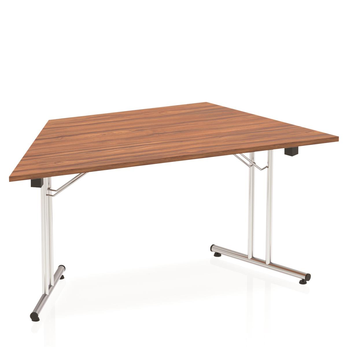 Sonix Trapezoidal Chrome Leg Folding Meeting Table 1600x800mm Walnut Ref I000702
