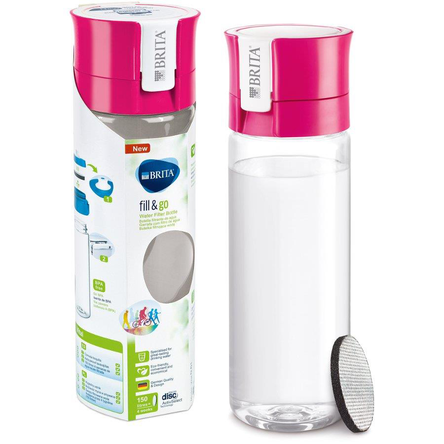Brita Fill & Go Vital Filtering Water Bottle Pull-out Mouthpiece Flip-top Lid 600ml Pink Ref 1031145