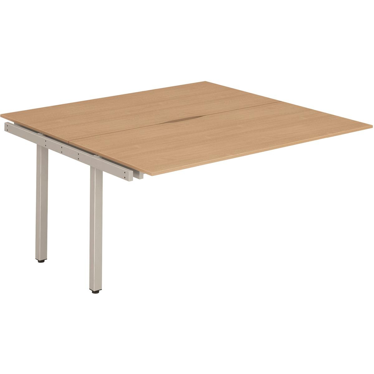 Trexus Bench Desk Double Extension Back to Back Configuration Silver Leg 1200x1600mm Beech Ref BE147