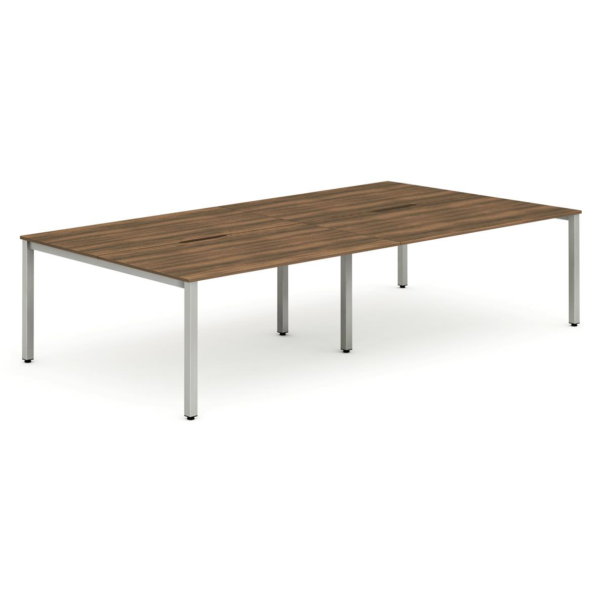Trexus Bench Desk 4 Person Back to Back Configuration Silver Leg 2400x1600mm Walnut Ref BE259