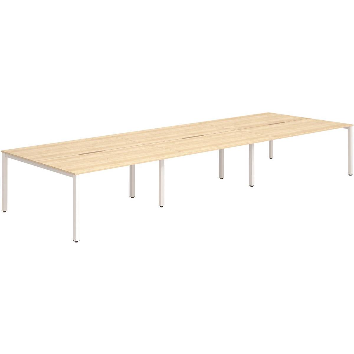 Trexus Bench Desk 6 Person Back to Back Configuration White Leg 3600x1600mm Maple Ref BE276