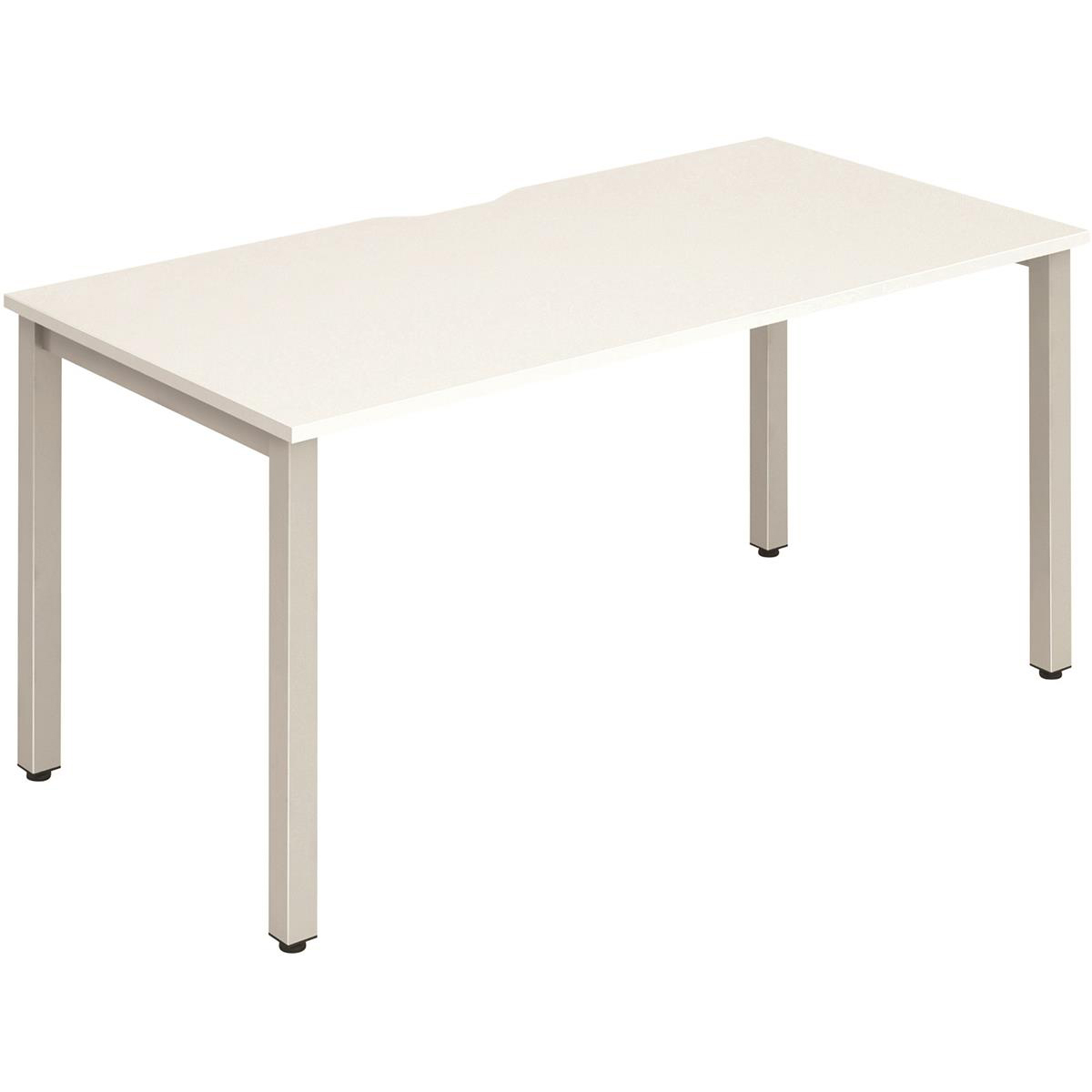 Trexus Bench Desk Individual Silver Leg 1400x800mm White Ref BE135