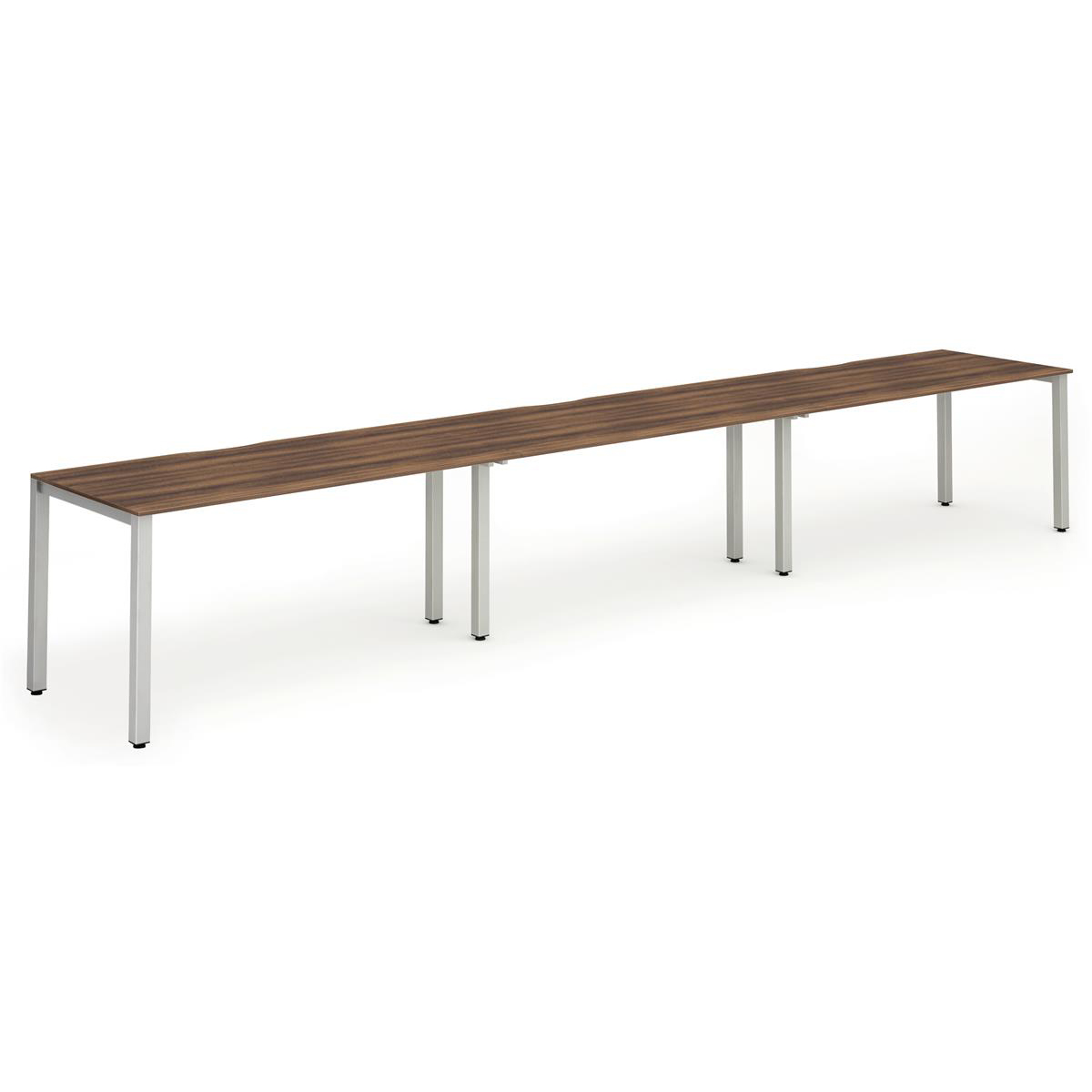 Trexus Bench Desk 3 Person Side to Side Configuration Silver Leg 4800x800mm Walnut Ref BE409