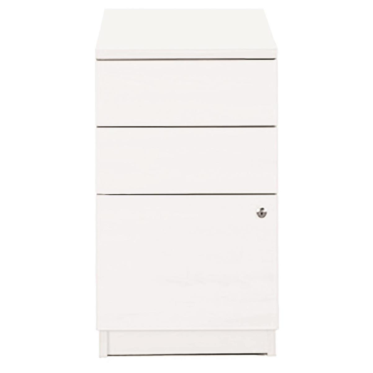 Sonix Desk High 3 Drawer 800D Pedestal 430x800x730mm Polar White Ref w9699wh