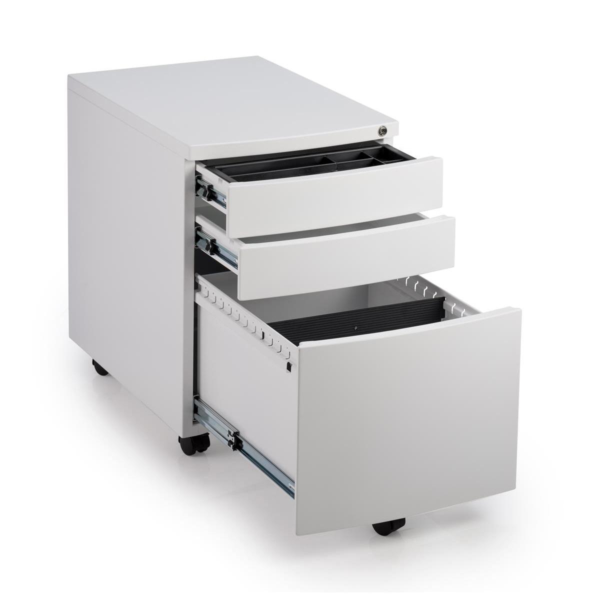 Trexus Standard Steel 3 Drawer Pedestal 390x565x558mm White Ref SMP2WHITE
