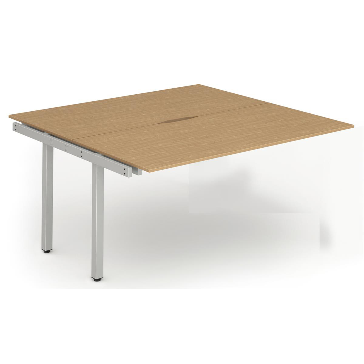 Trexus Bench Desk Double Extension Back to Back Configuration Silver Leg 1200x1600mm Oak Ref BE218