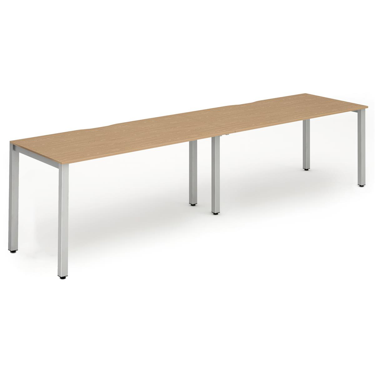 Trexus Bench Desk 2 Person Side to Side Configuration Silver Leg 3200x800mm Oak Ref BE368