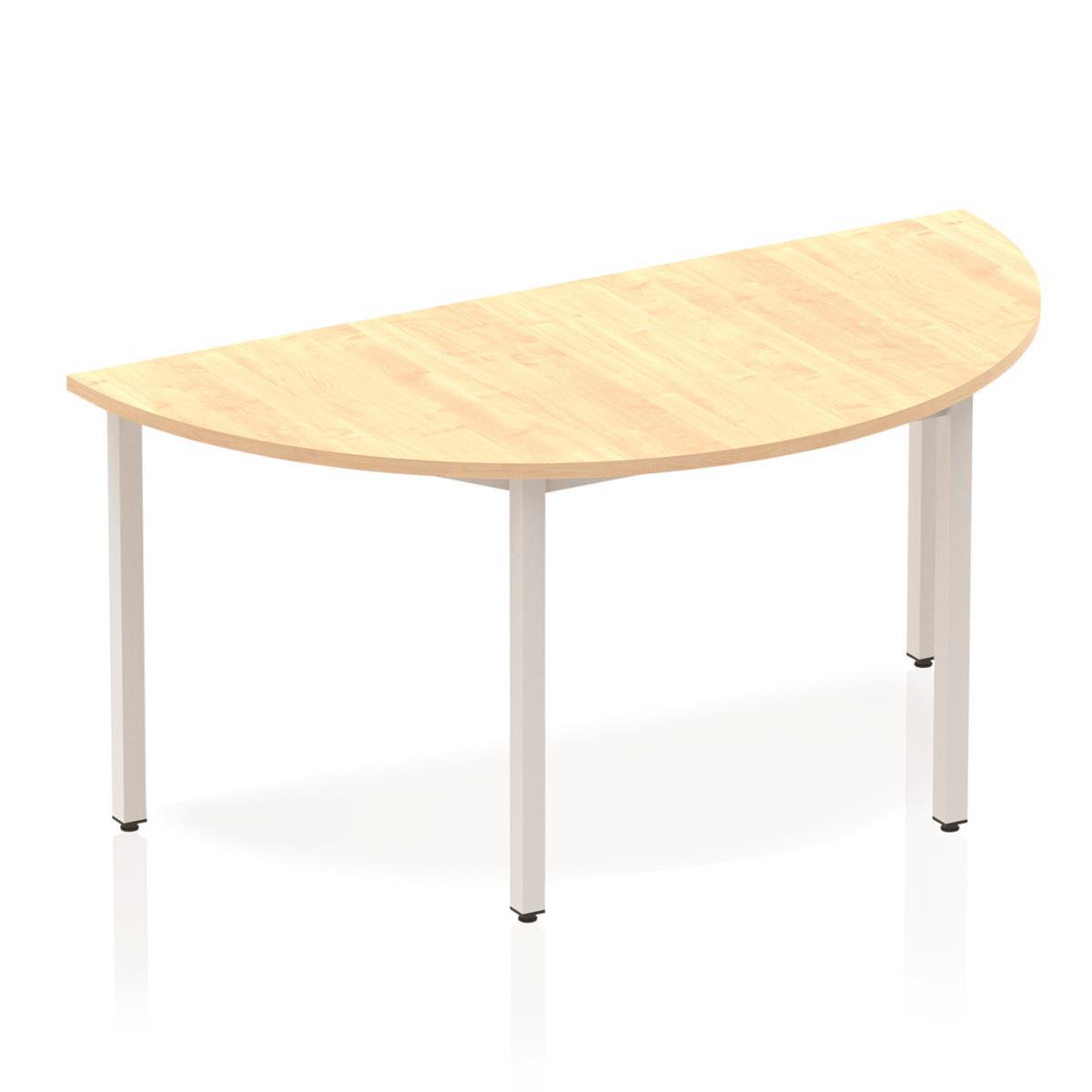 Trexus Semi-circular Box Frame Silver Leg Table 1600x800mm Maple Ref BF00164