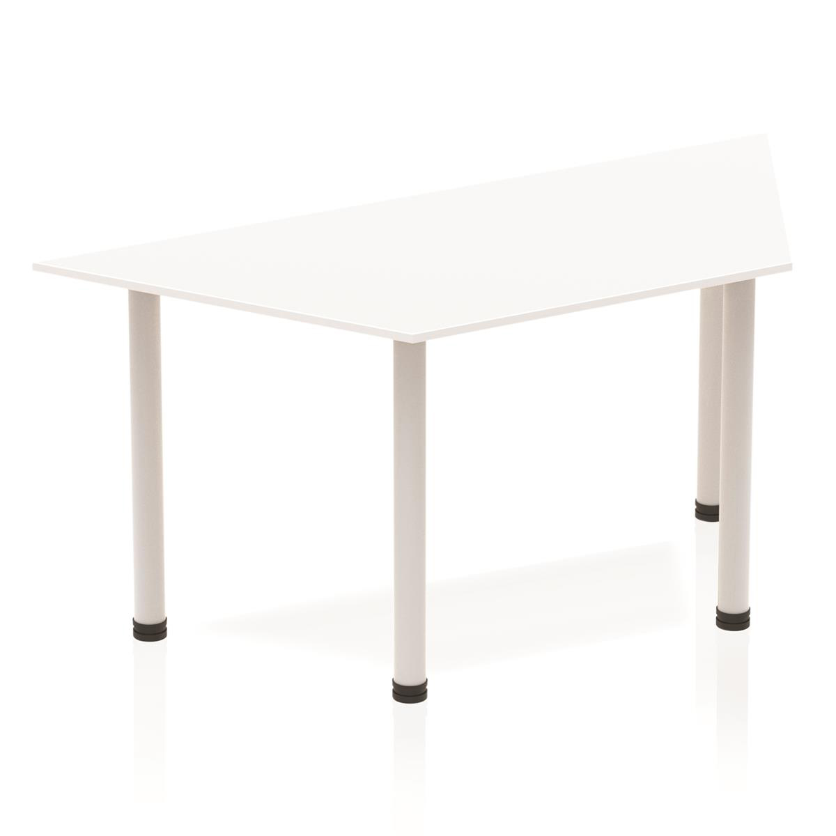 Sonix Trapezoidal Silver Post Leg Table 1600x800mm White Ref BF00176