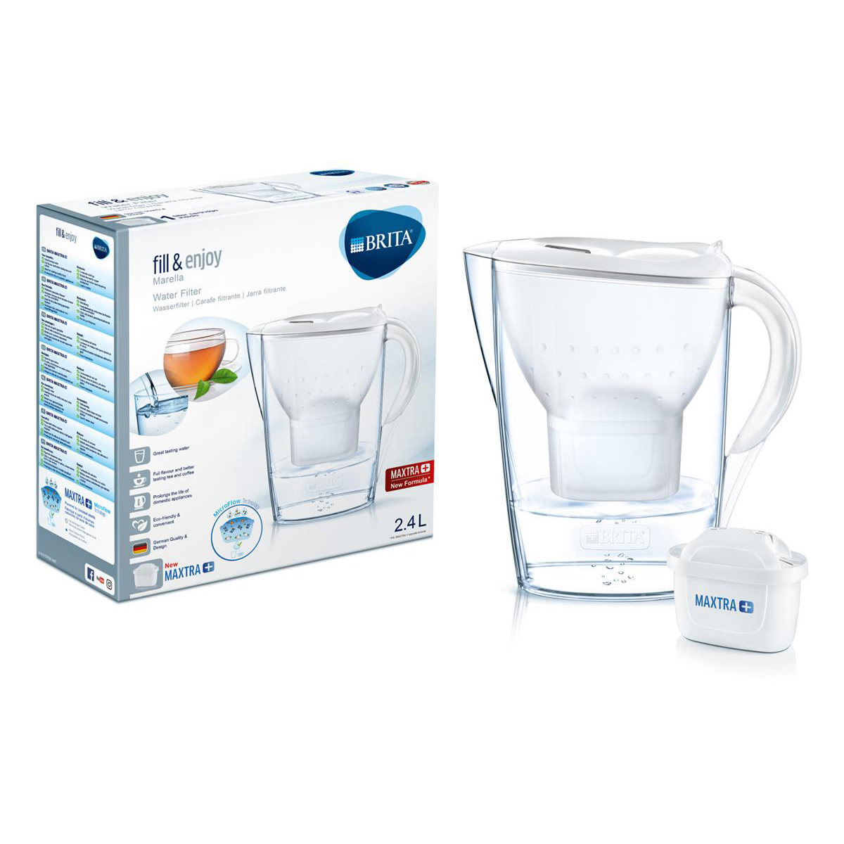 Bottled water dispensers / accessories Brita Maxtra Plus Marella Water Filtering Jug Cool White Ref 1029670