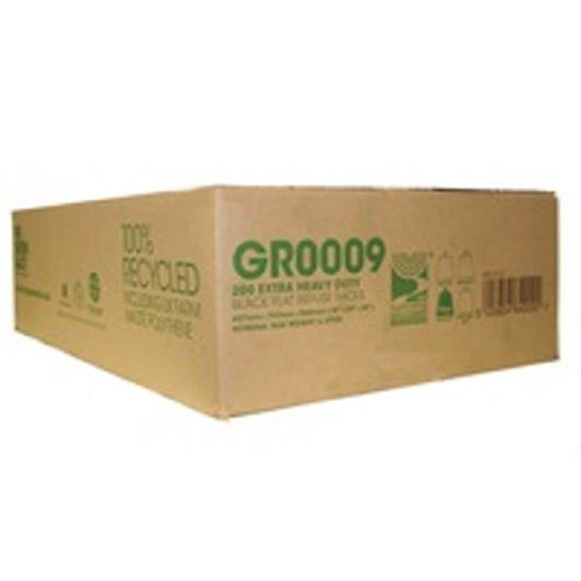 The Green Sack Refuse Sacks Extra Heavy Duty 15kg Capacity Black Ref 703113 [Pack 200]