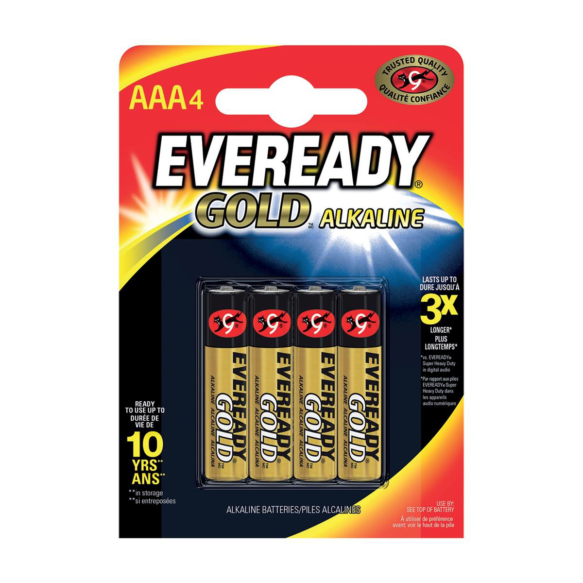 Eveready Gold Alkaline Batteries AAA/LR03 Ref 636034 Pack 4
