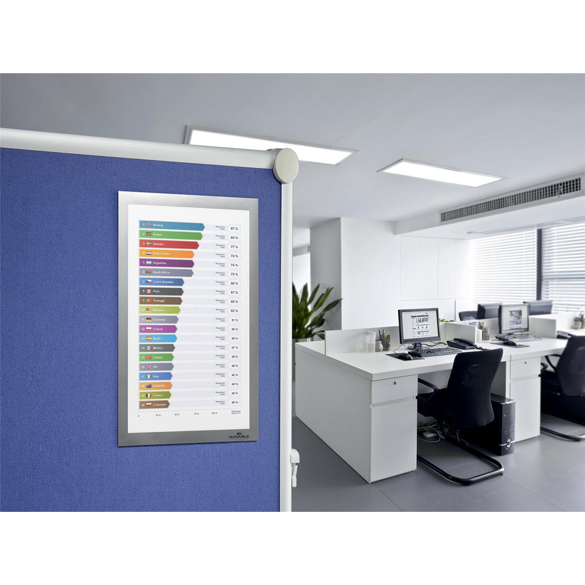 Durable Duraframe Display Frame with Fabric Grip Tape and Magnetic Closure A4 Silver Ref 496823