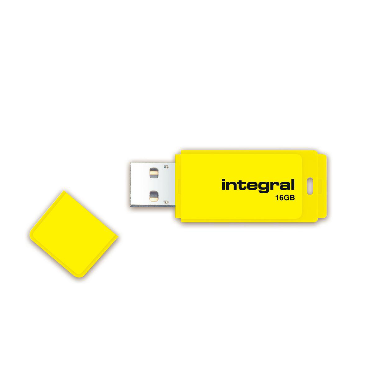 Memory Sticks Integral Neon USB Drive 2.0 Capacity 16GB Yellow Ref INFD16GBNEONYL