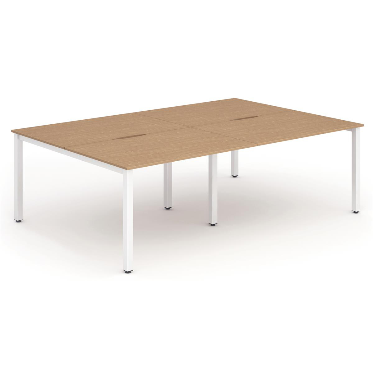 Trexus Bench Desk 4 Person Back to Back Configuration White Leg 2400x1600mm Oak Ref BE238