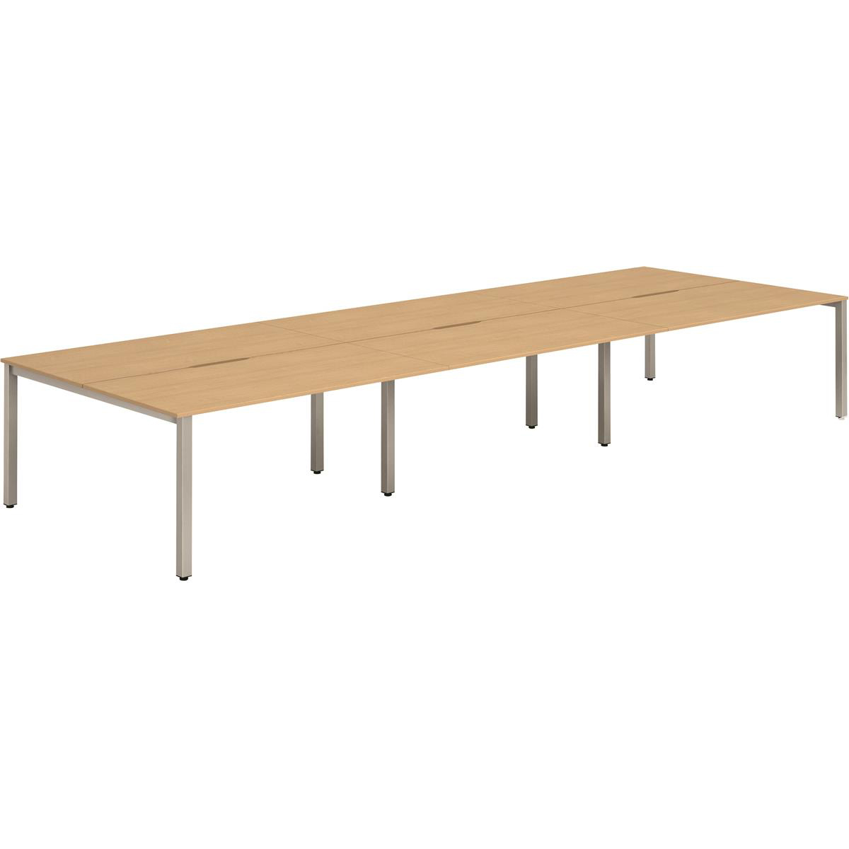 Trexus Bench Desk 6 Person Back to Back Configuration Silver Leg 2800x1600mm Beech Ref BE297