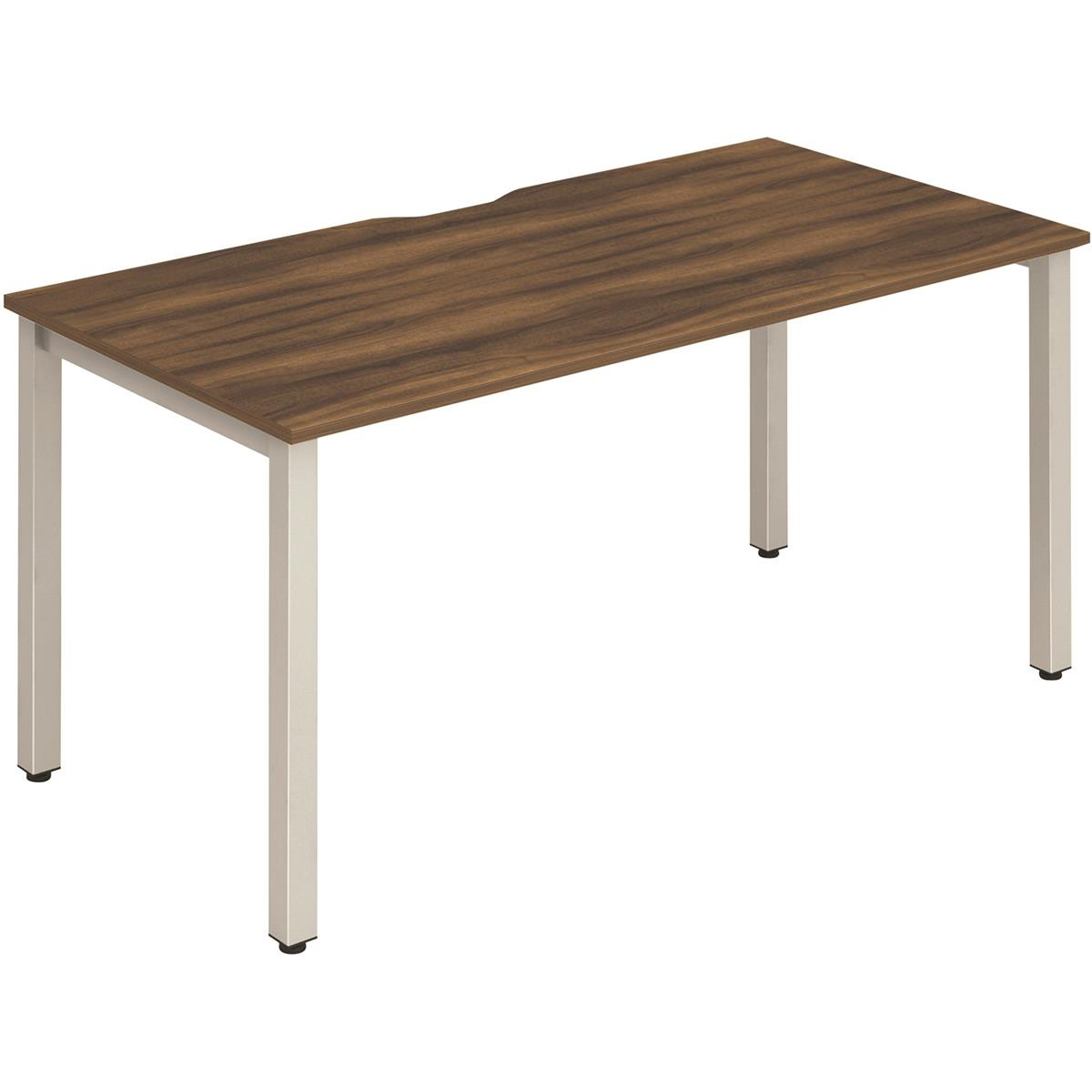 Trexus Bench Desk Individual Silver Leg 1400x800mm Walnut Ref BE134