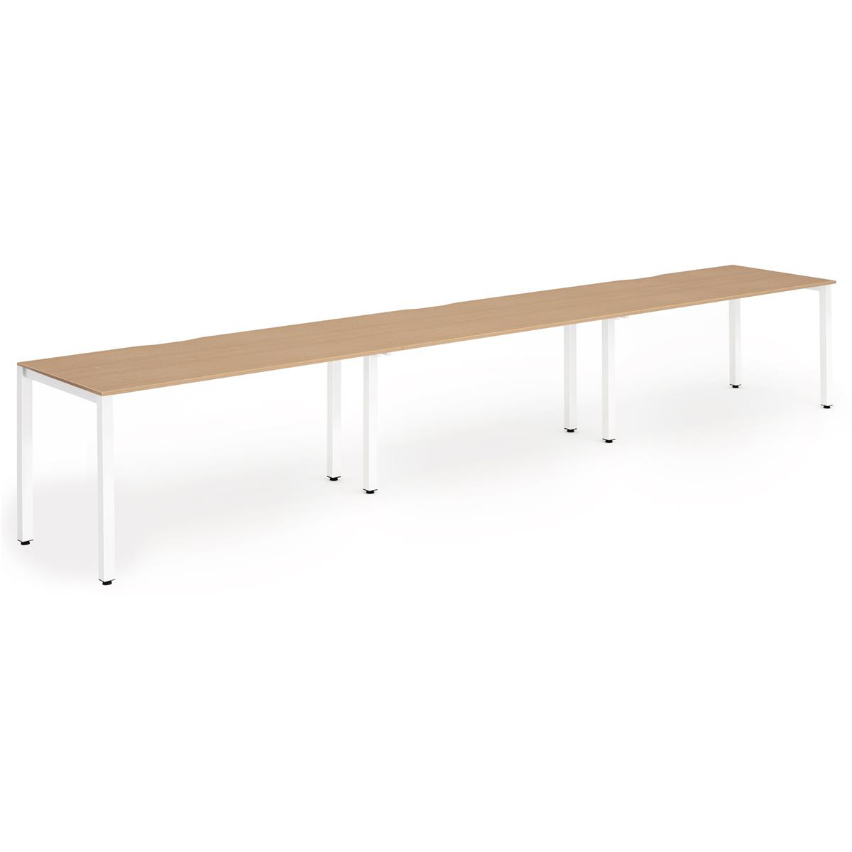Trexus Bench Desk 3 Person Side to Side Configuration White Leg 4800x800mm Oak Ref BE388