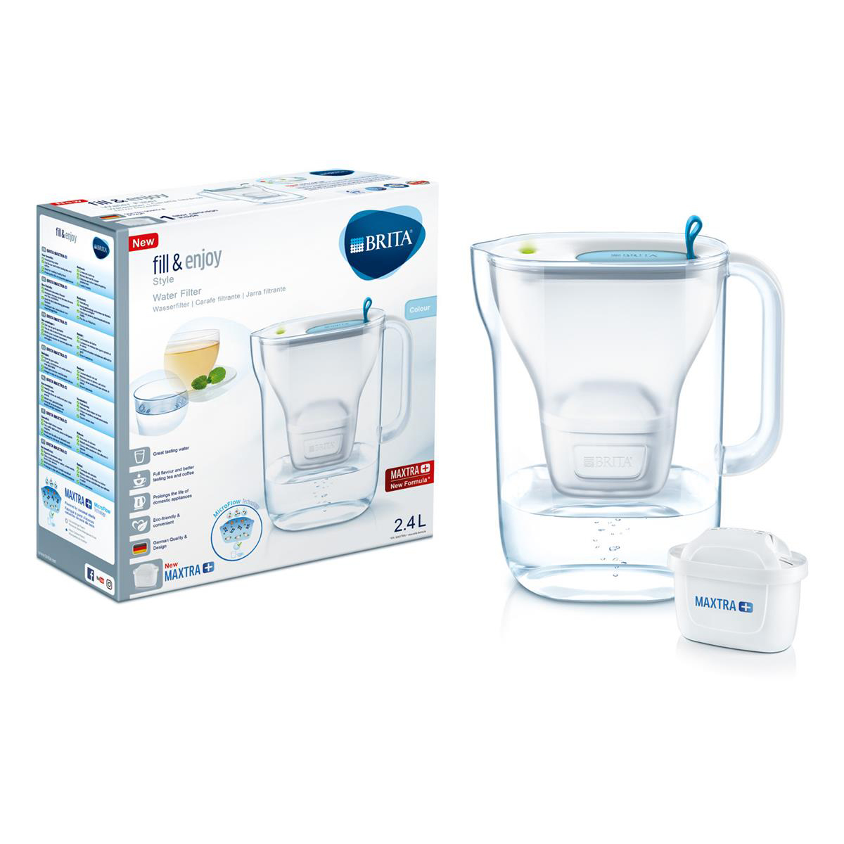 Bottled water dispensers / accessories Brita Maxtra Plus Style Water Filtering Jug Cool Blue Ref 139213
