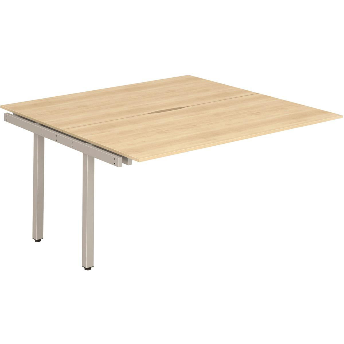 Trexus Bench Desk Double Extension Back to Back Configuration Silver Leg 1200x1600mm Maple Ref BE216