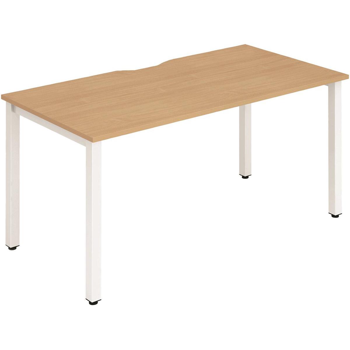 Trexus Bench Desk Individual White Leg 1400x800mm Beech Ref BE117