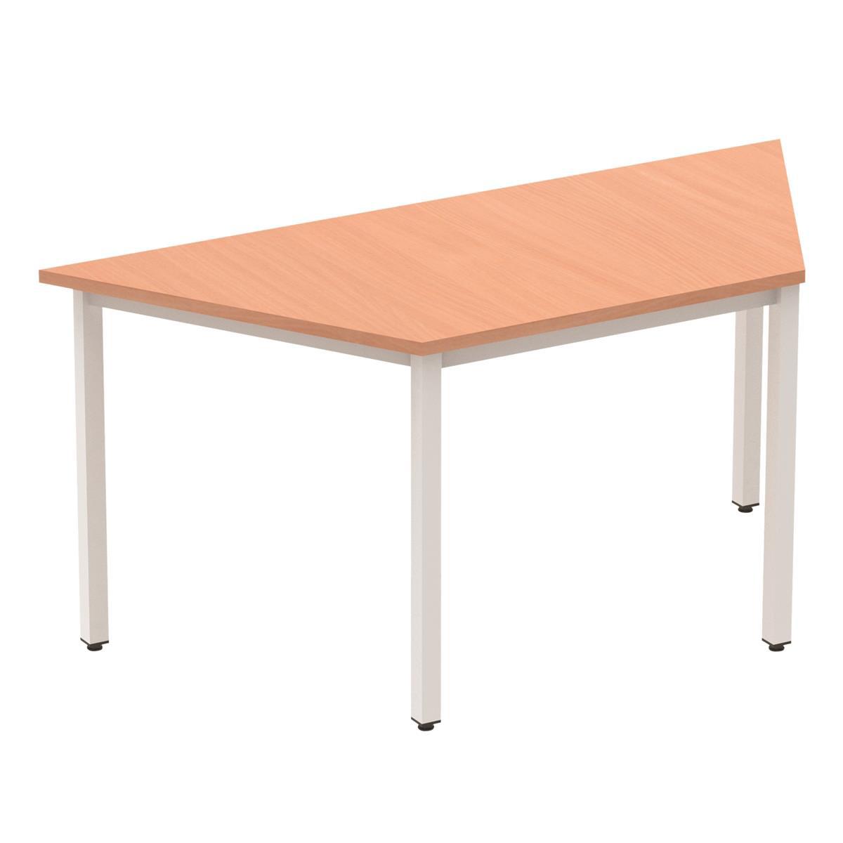 Trexus Trapezoidal Box Frame Silver Leg Table 1600x800mm Beech Ref BF00108