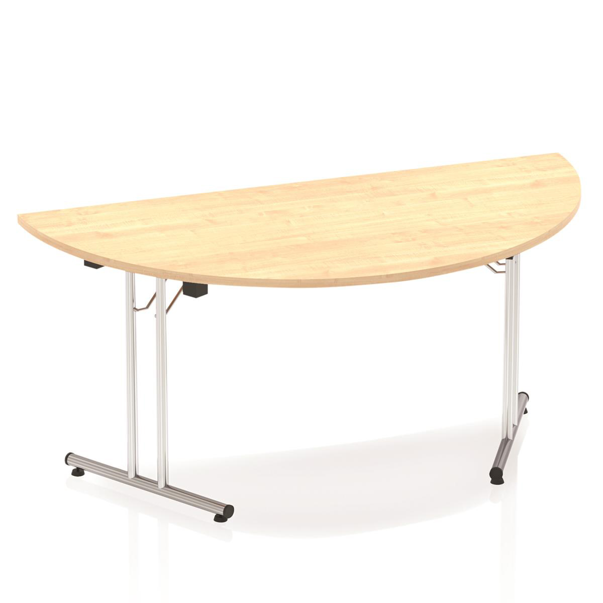 Sonix Semi-circular Chrome Leg Folding Meeting Table 1600x800mm Maple Ref I000721