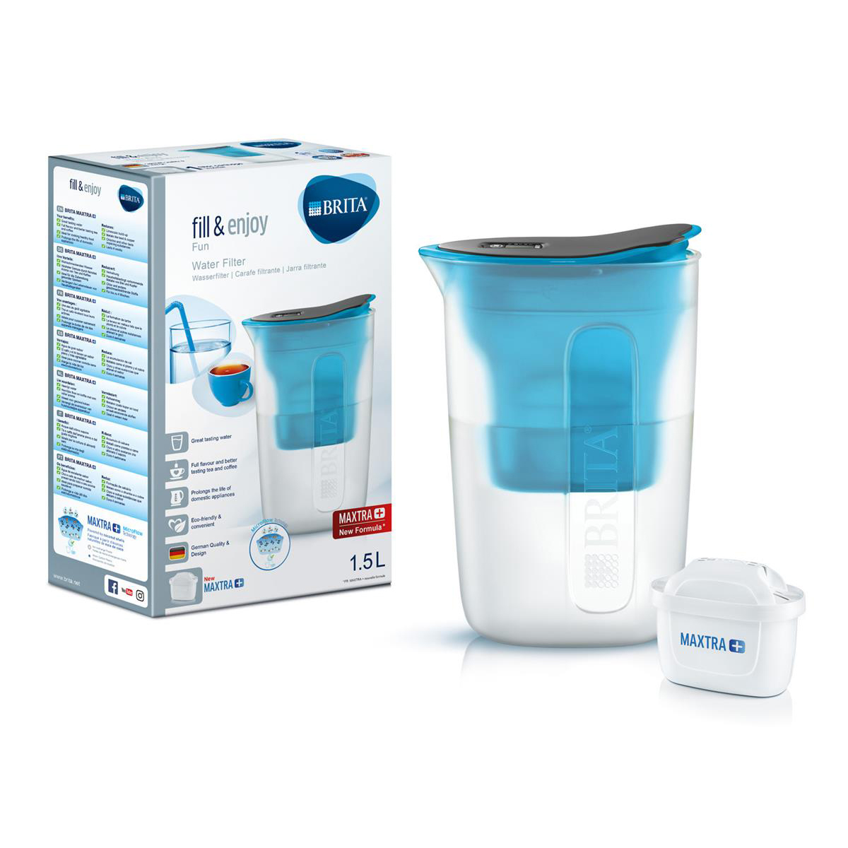 Brita Maxtra Plus Fun Water Filtering Jug Blue Ref 139321