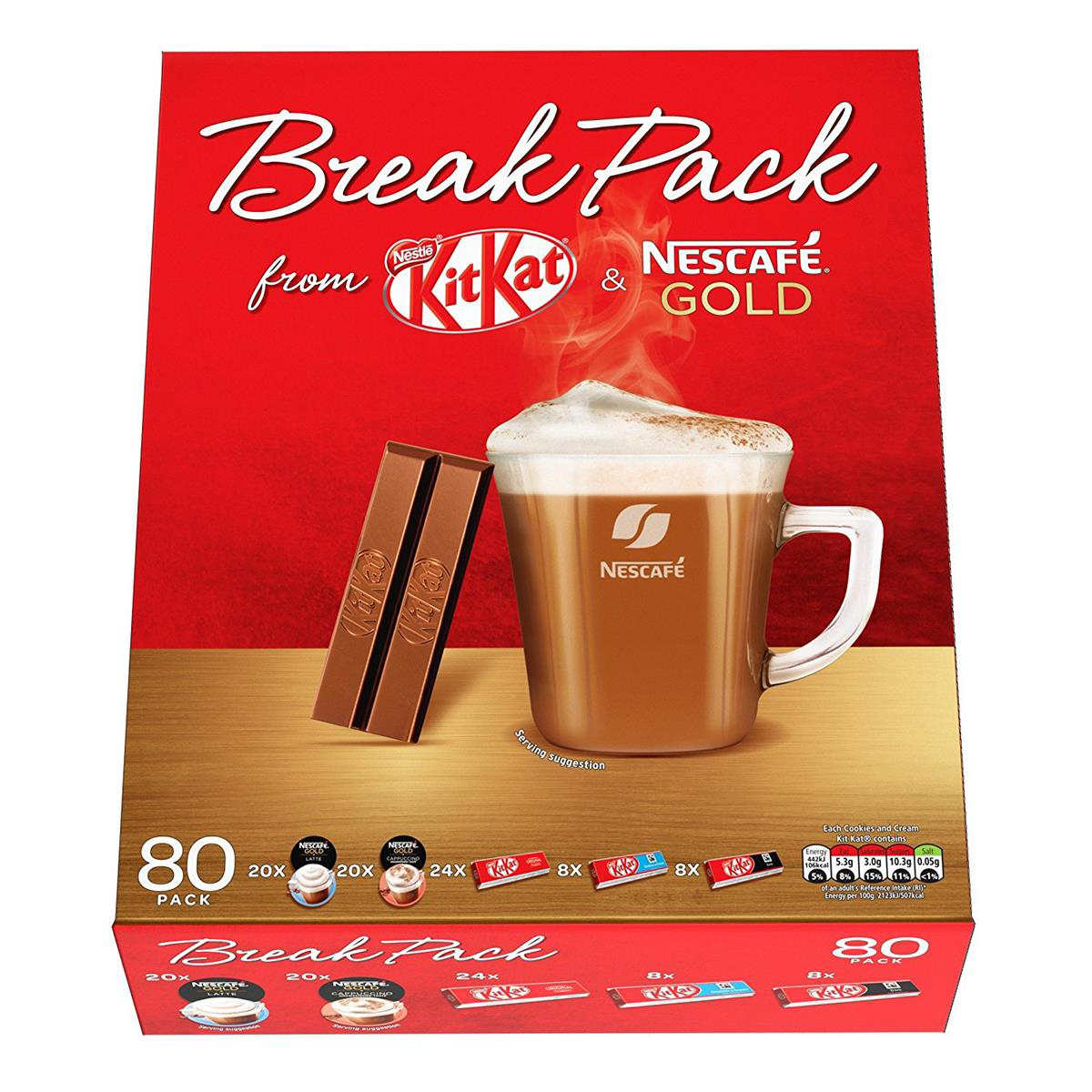 Nestle Break Pack - Containing an 80 pack combination  of Kat Kat s and Nescafe Coffees  Ref 12338657