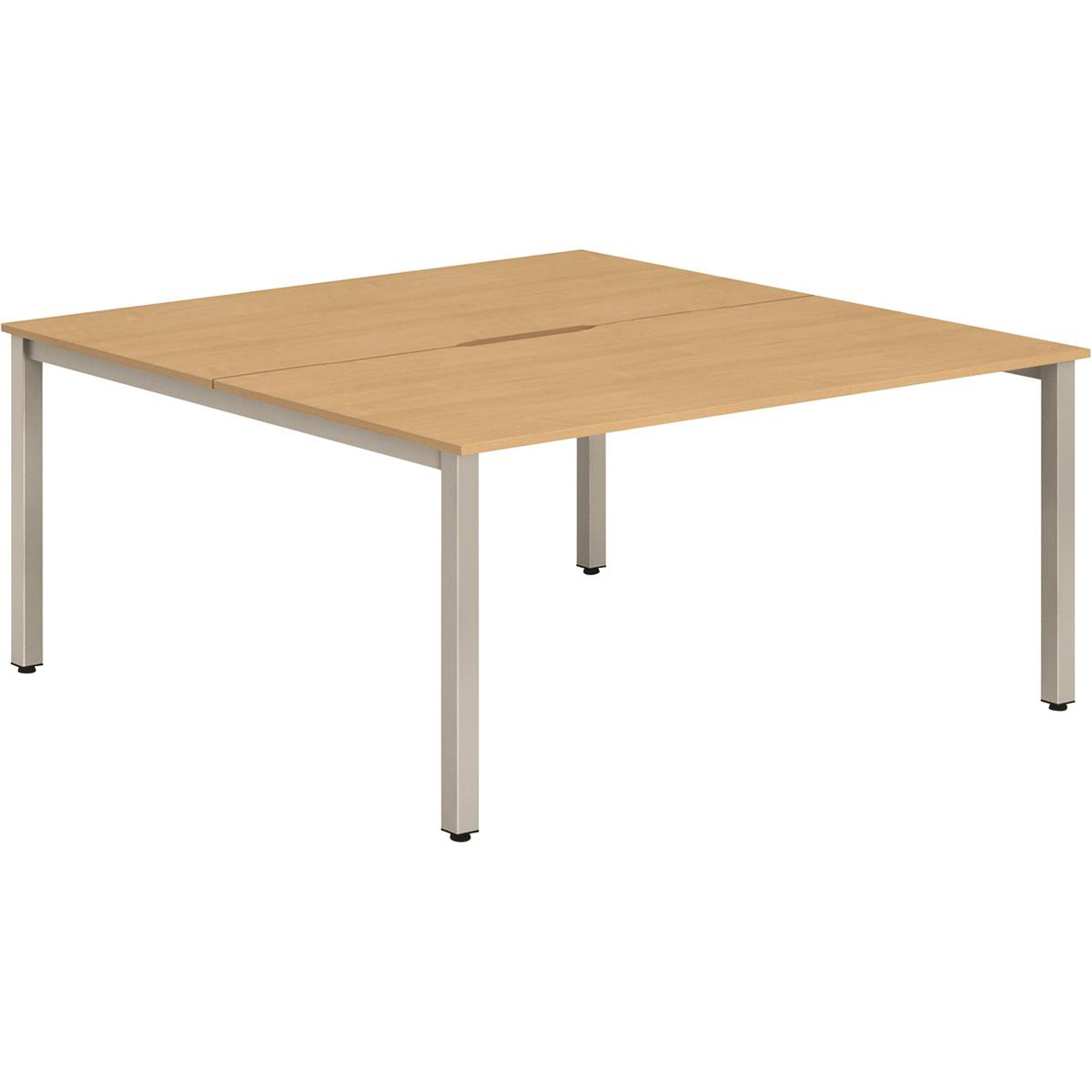 Trexus Bench Desk 2 Person Back to Back Configuration Silver Leg 1200x1600mm Beech Ref BE178
