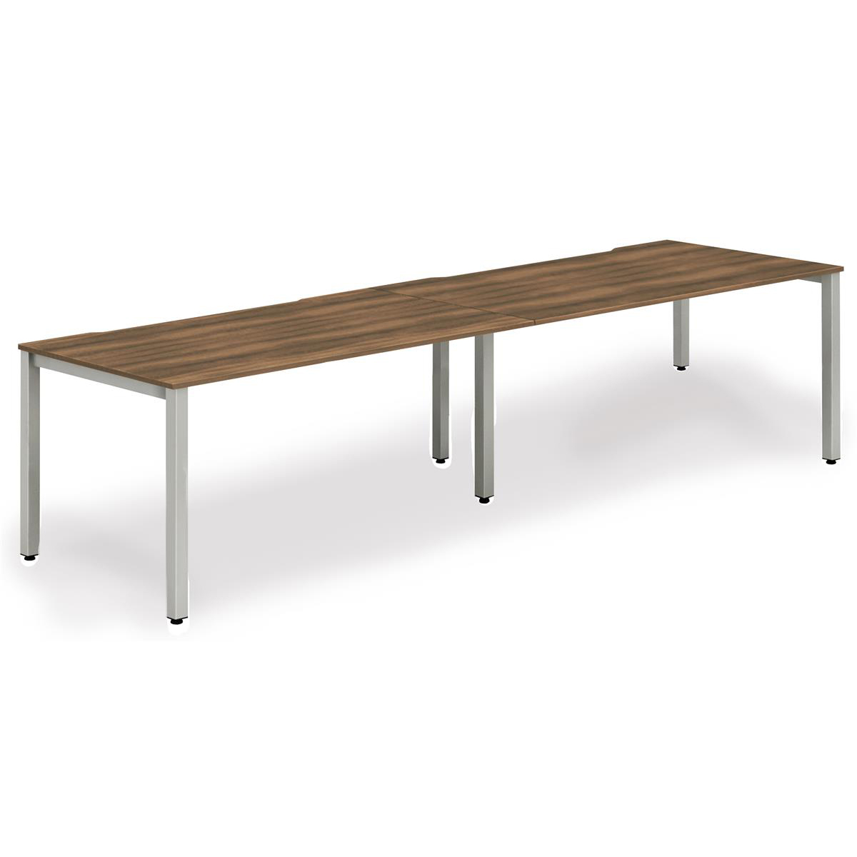 Trexus Bench Desk 2 Person Side to Side Configuration Silver Leg 3200x800mm Walnut Ref BE369