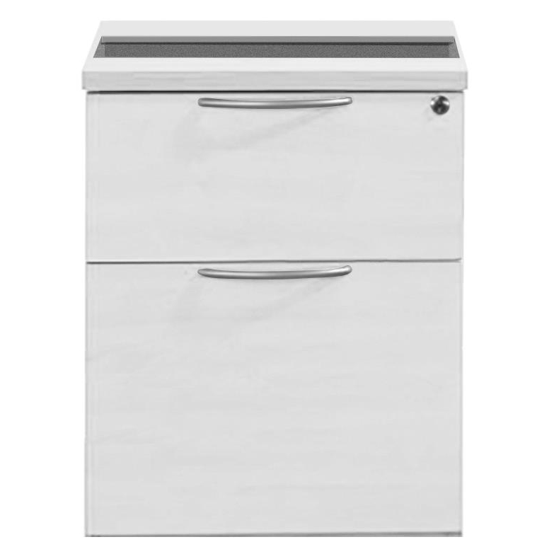 Sonix 2 Drawer Fixed Pedestal 430x565x490mm Polar White Ref w9147wh