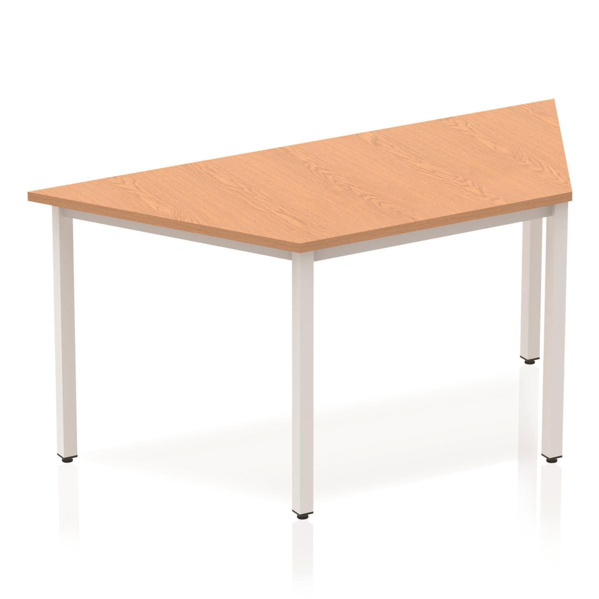 Trexus Trapezoidal Box Frame Silver Leg Table 1600x800mm Oak Ref BF00134