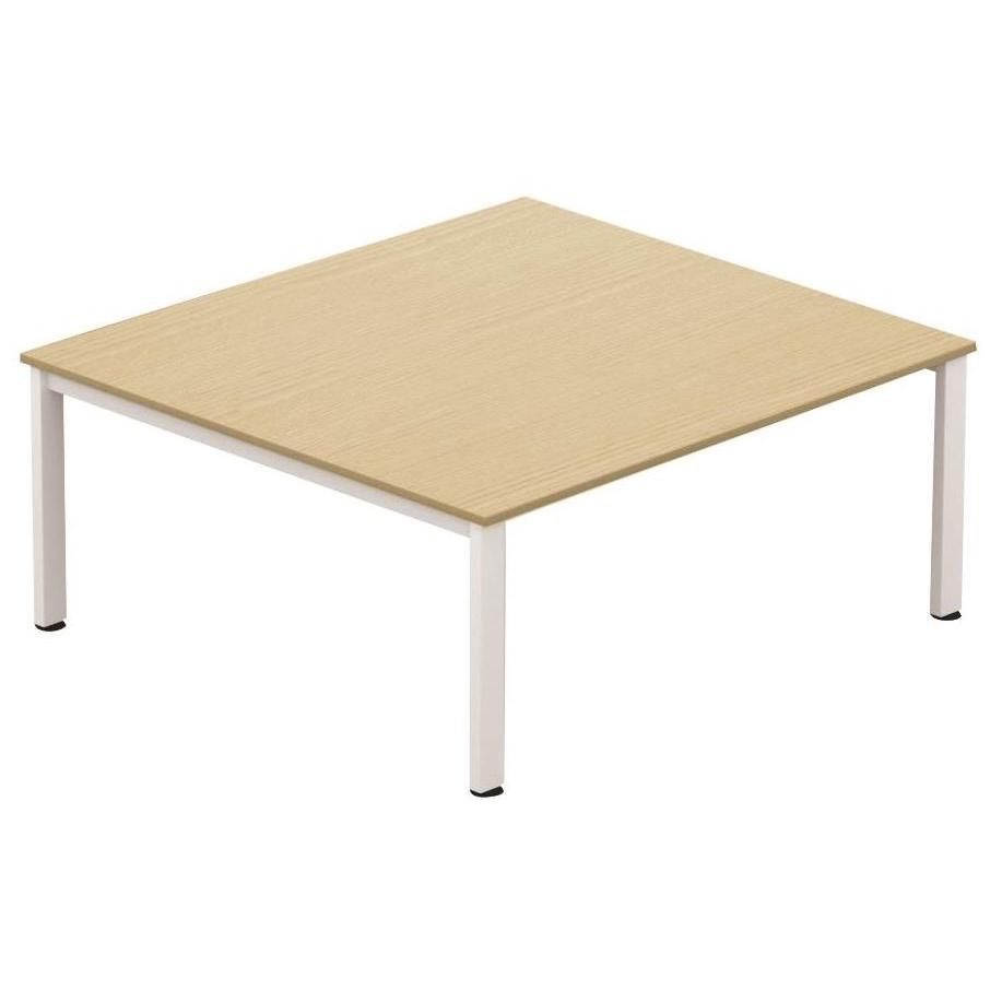 Sonix Meeting Table White Legs 1800x1600mm Oak Ref fb1816mtowh