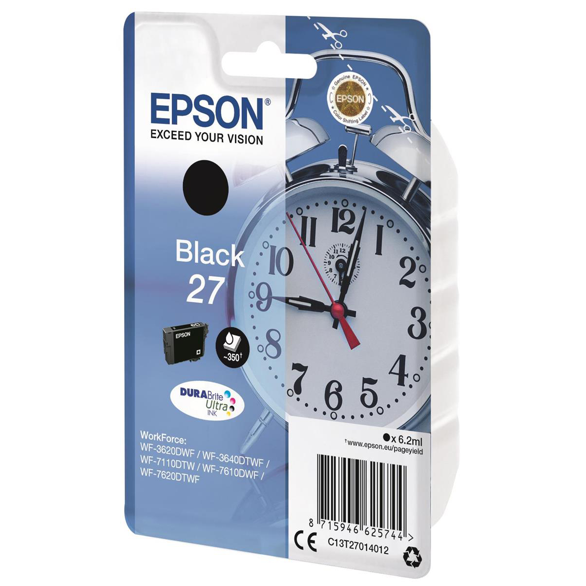 Epson 27 Ink Cartridge Alarm Clock Page Life 350pp 6.2ml Black Ref C13T27014012