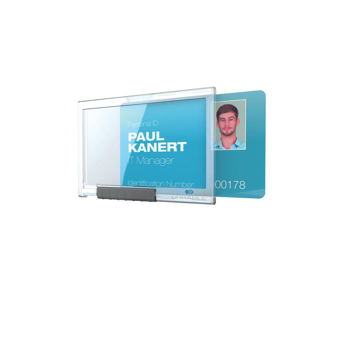 Durable Pushbox Mono Card Holder 1 Card Internal Dimensions 54x87mm Transparent Ref 892219 Pack 10