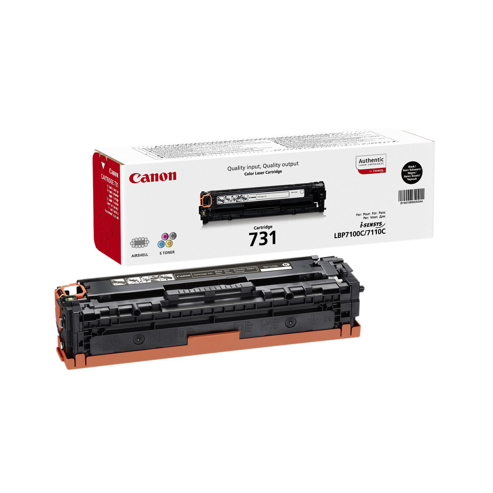 Canon 731BK Laser Toner Cartridge Page Life 1400pp Black Ref 6272B002