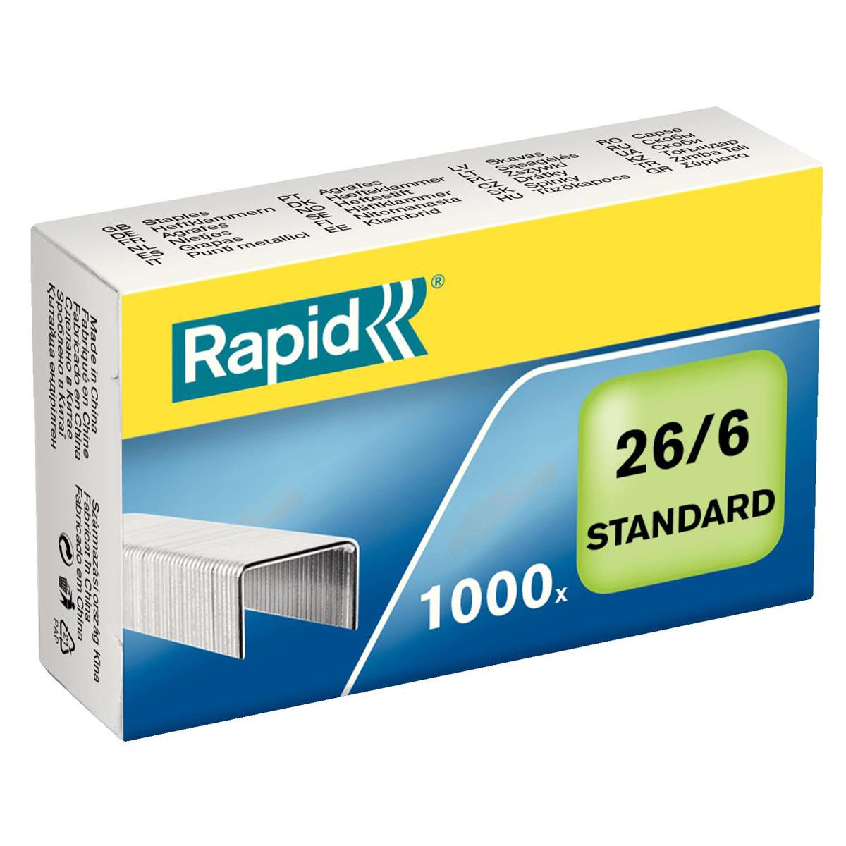 Rapid Staples 26/6mm Pack 1000 Ref 24861300