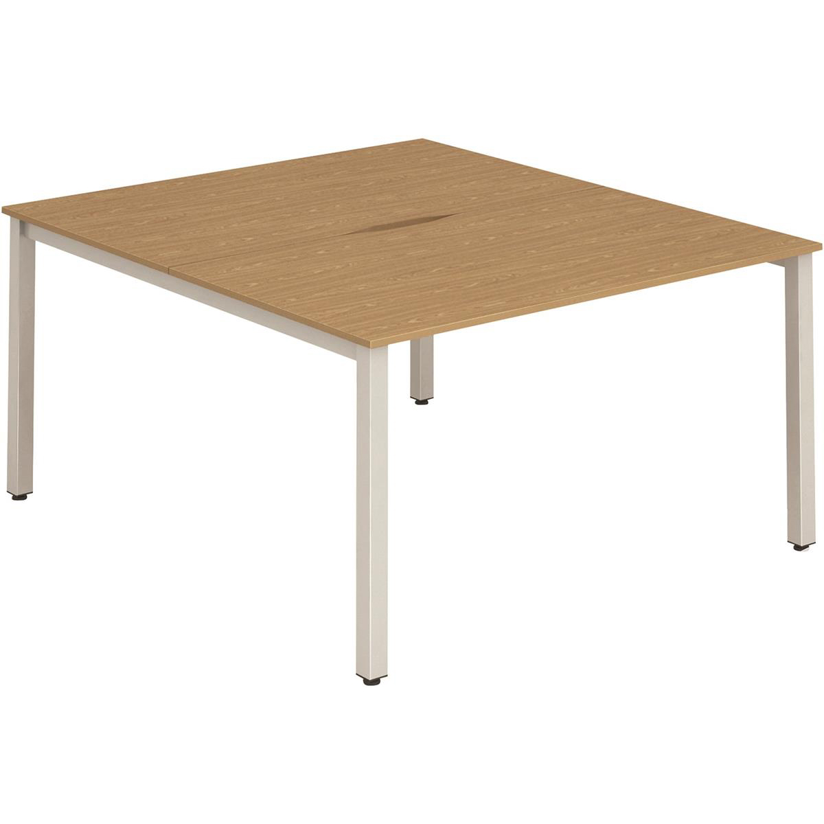 Trexus Bench Desk 2 Person Back to Back Configuration Silver Leg 1200x1600mm Oak Ref BE178