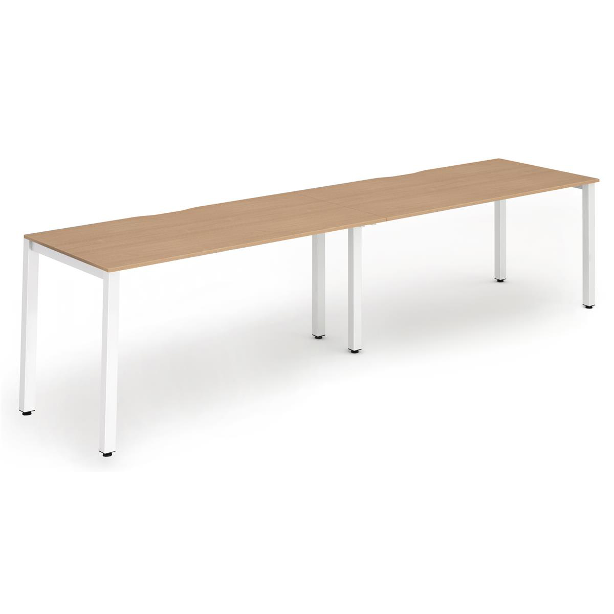 Trexus Bench Desk 2 Person Side to Side Configuration White Leg 3200x800mm Beech Ref BE352