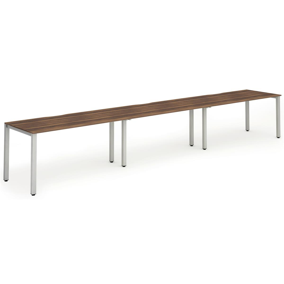 Trexus Bench Desk 3 Person Side to Side Configuration White Leg 4800x800mm Walnut Ref BE389