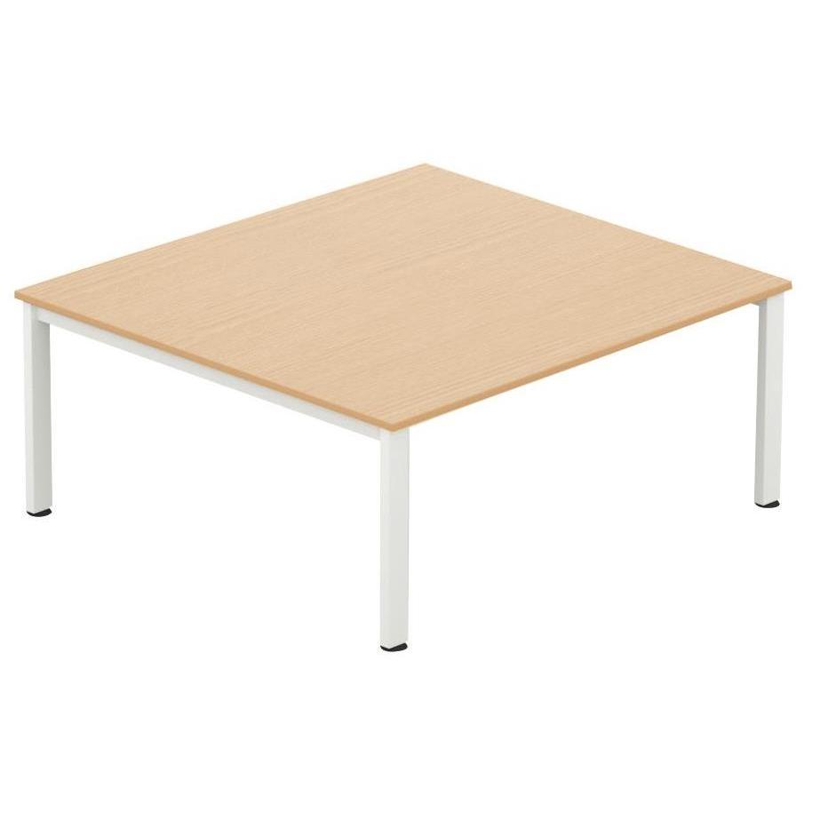 Sonix Meeting Table White Legs 1800x1600mm Maple Ref fb1816mtmwh