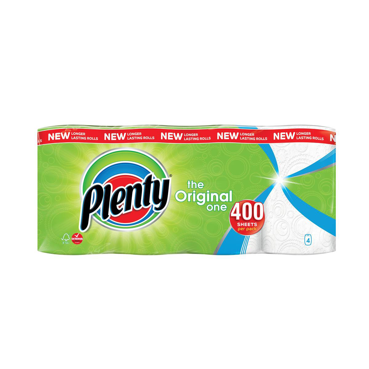 Plenty Double Kitchen Roll 100 Sheet Roll Ref 1105191 [Pack 4]