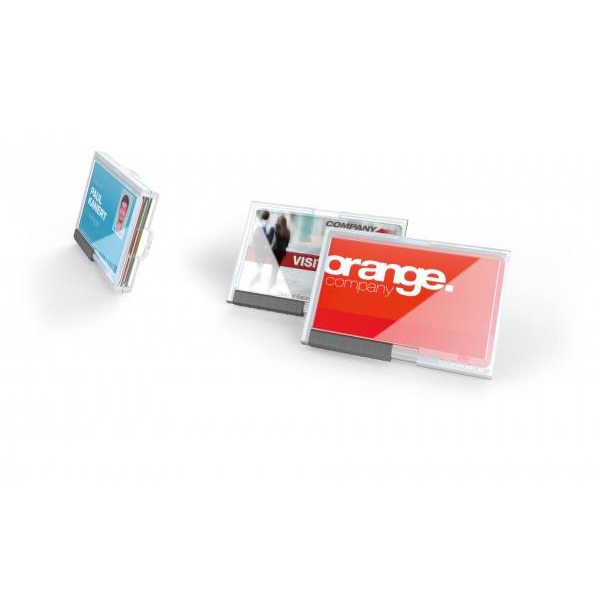 Durable Pushbox Duo Card Holder for 2 Cards Internal dimensions 54x87mm Transparent Ref 892119 Pack 10