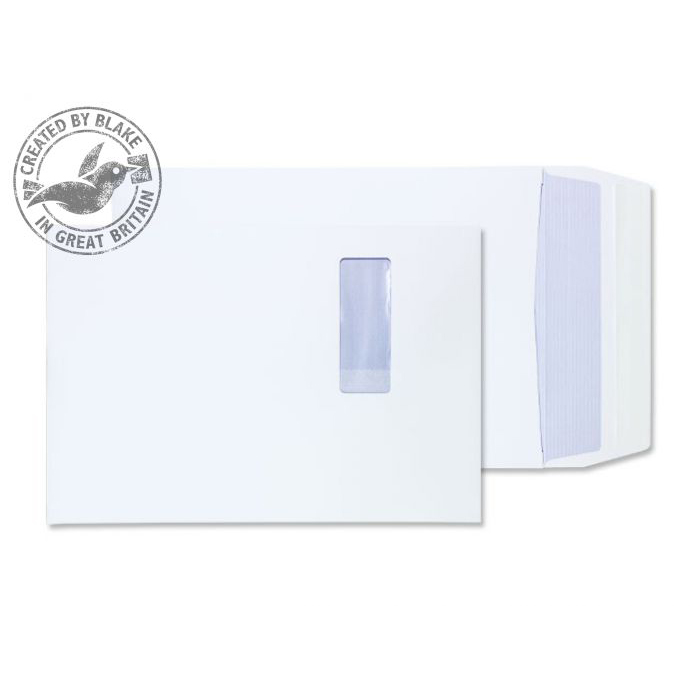 Purely Packaging Envelope P&S B4 350x250x25mm Window White Ref 41062W Pack 125 *10 Day Leadtime*