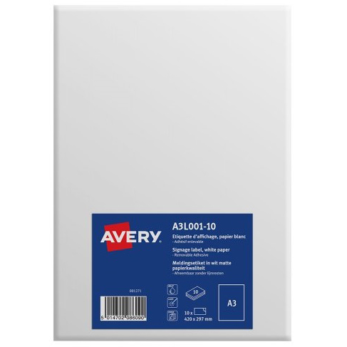 Avery Labels Standard Removable A3 White Ref A3L001-10 Pack 10